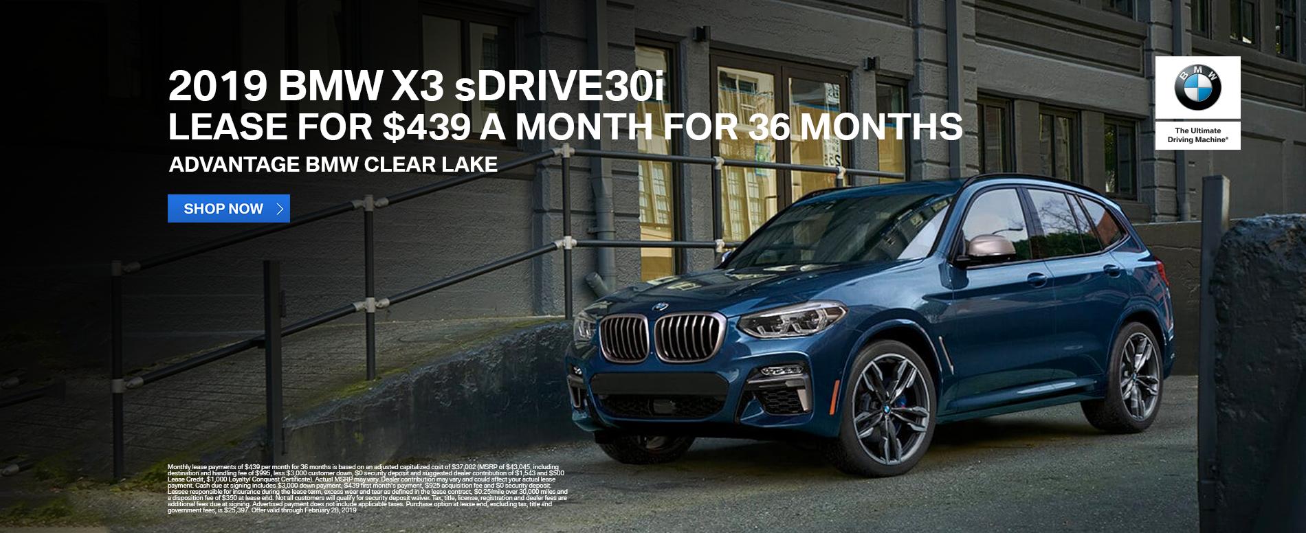 Lease-2019-BMW-X3-sDrive30i-Advantage-ClearLake