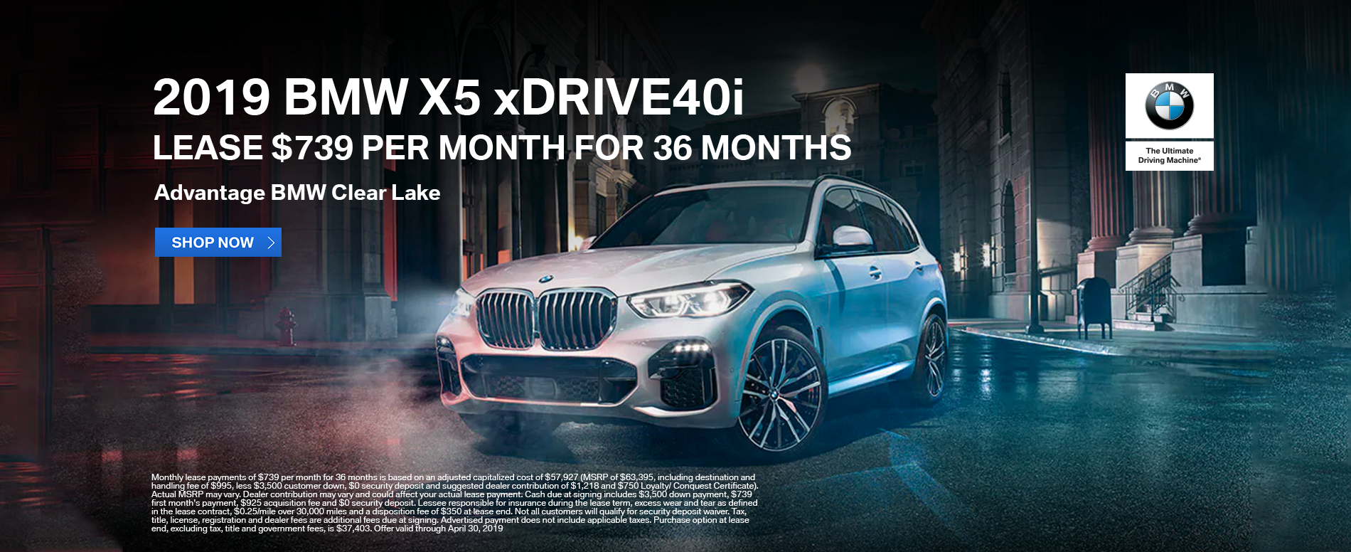 lease-2019-bmw-x5-xdrive40i-739-per-month-clear-lake