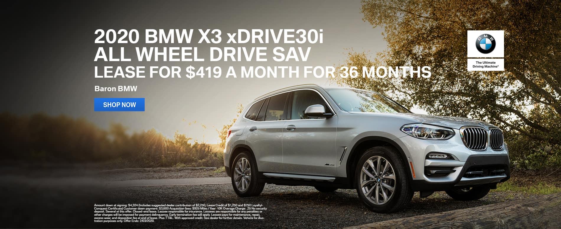 2020 X3 xDrive30i All Wheel Drive lease Kansas City