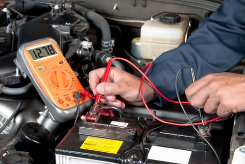 car battery with meter