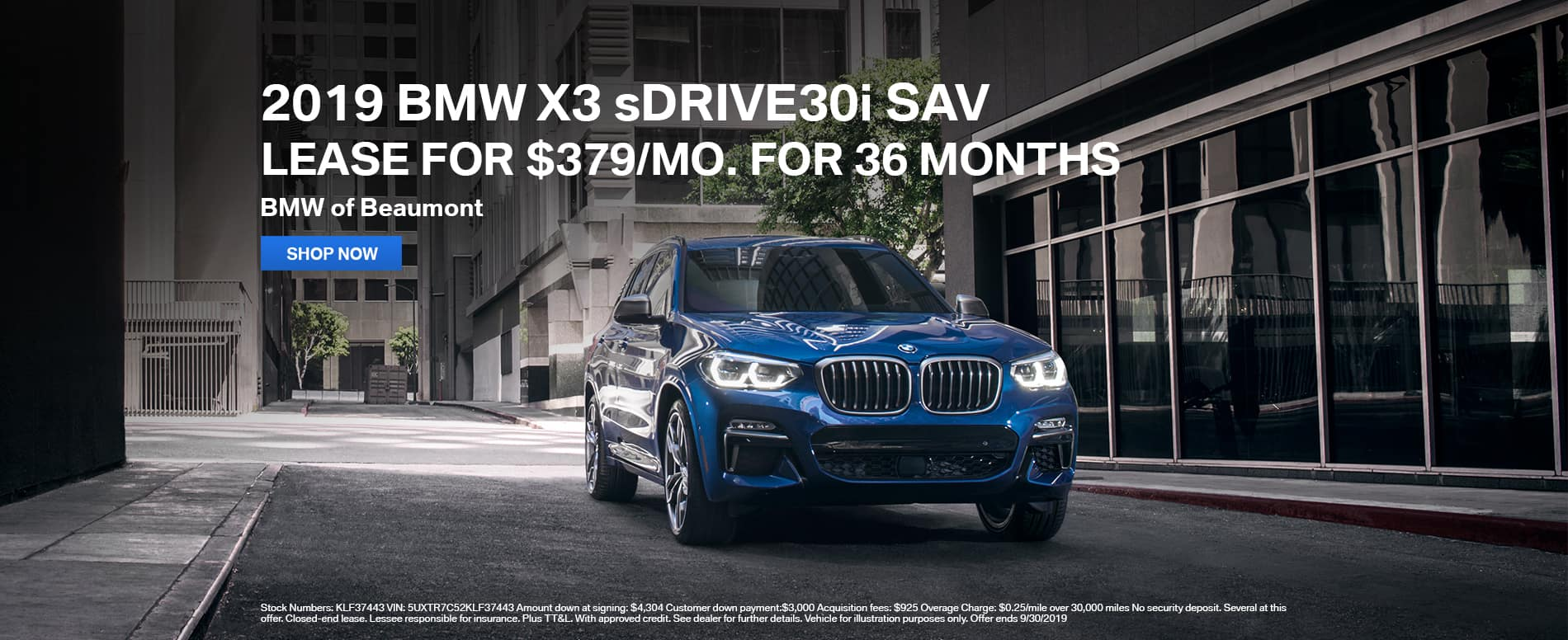 2019_Beaumont_BMW_X3_sDRIVE30i_SAV_Lease