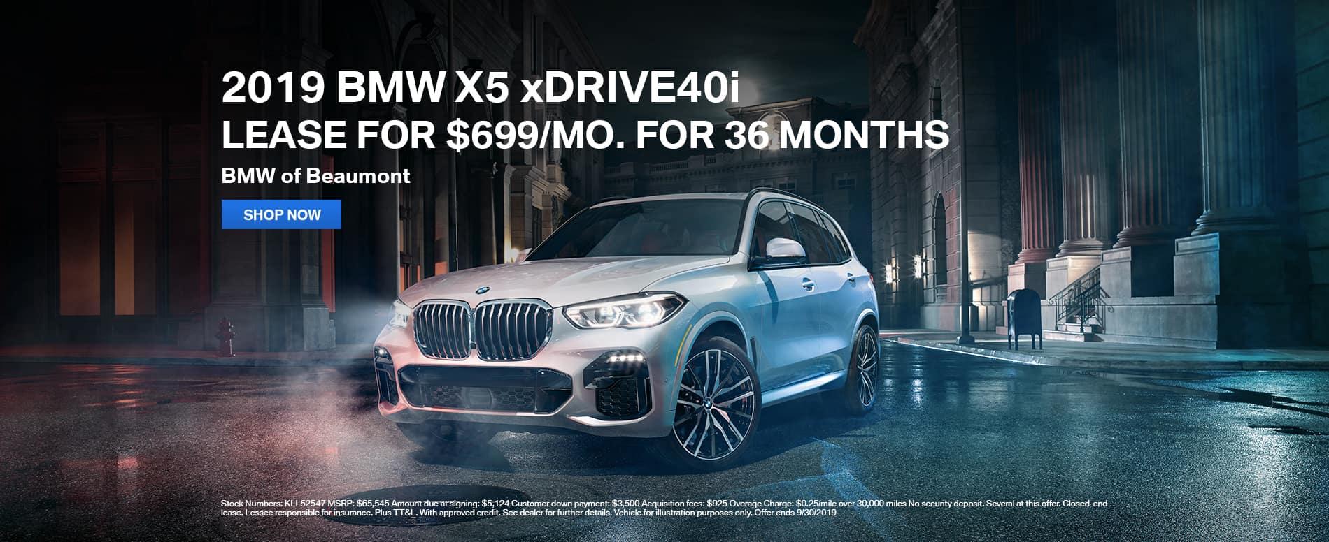 2019_Beaumont_BMW_X5_xDRIVE40i_Lease