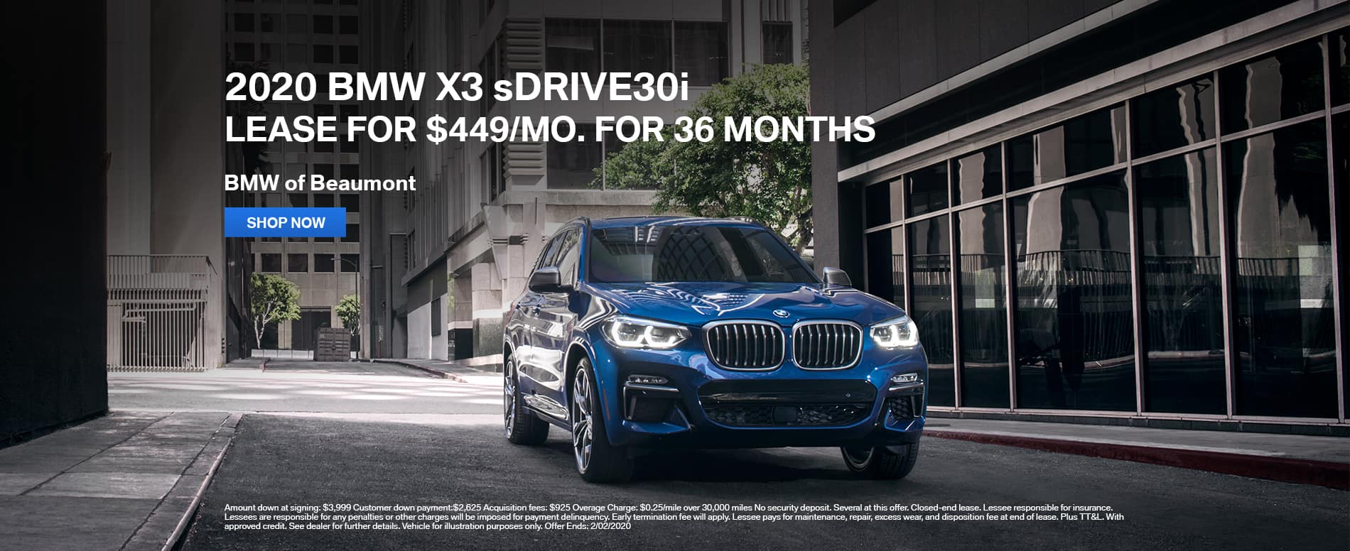 2020 BMW X3 sDrive30i lease Beaumont