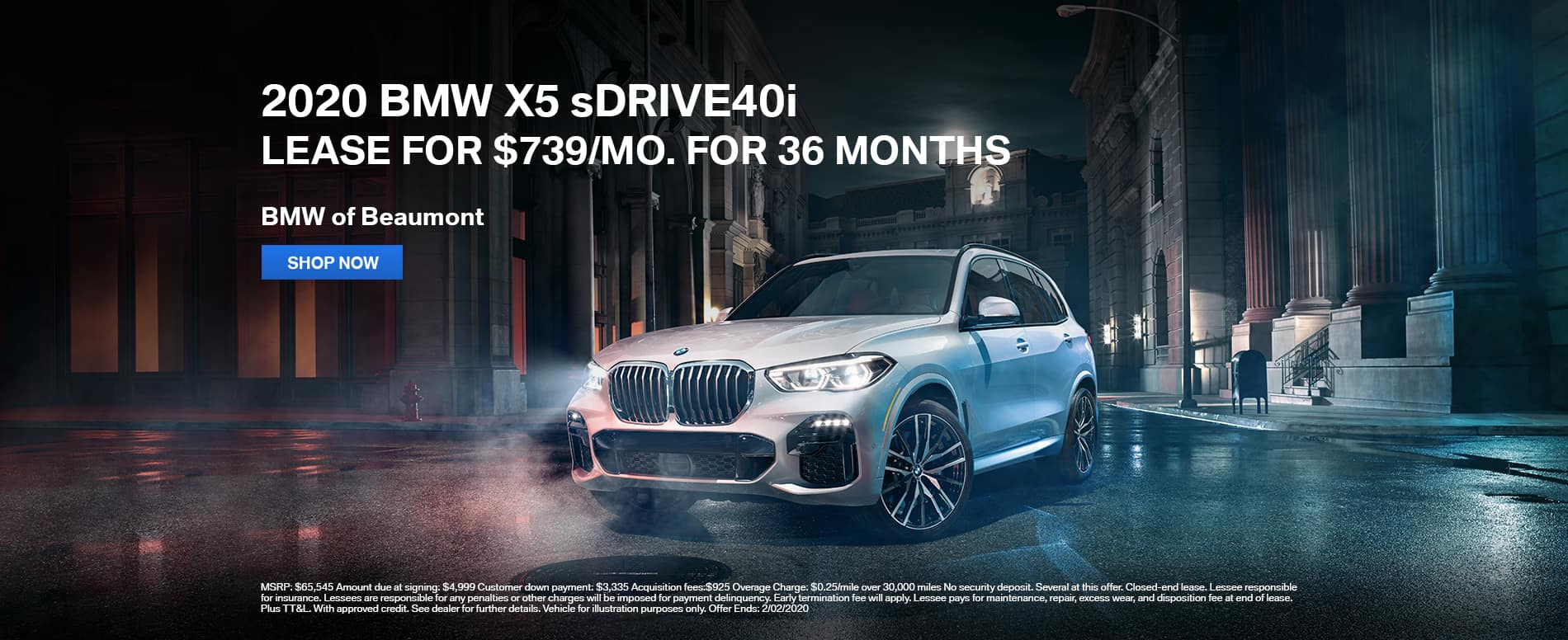 2020 BMW X5 sDrive40i lease Beaumont