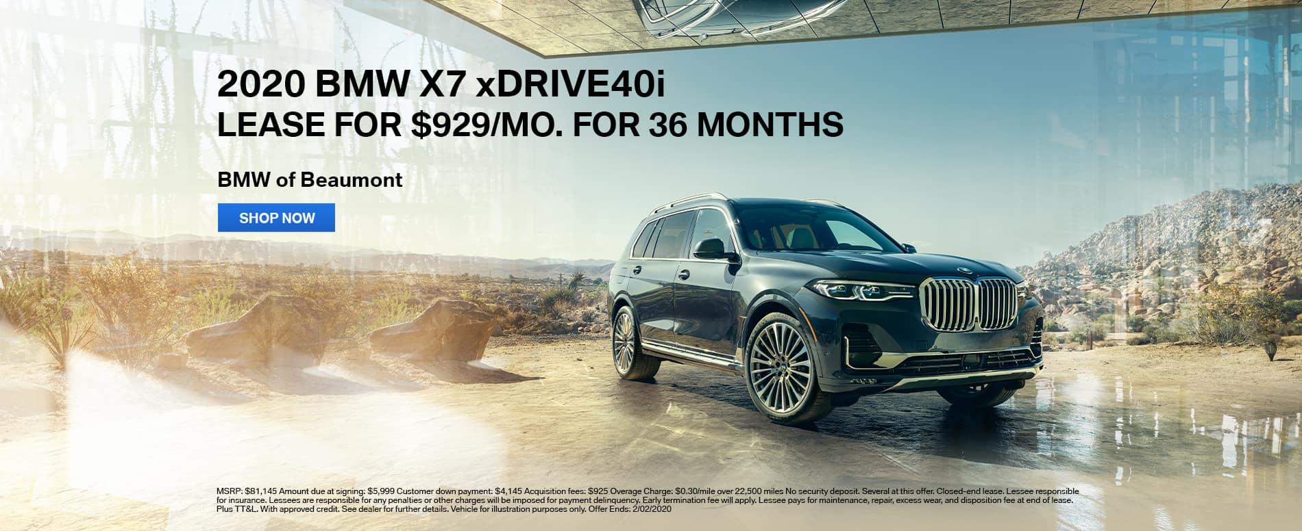 2020 BMW X7 xDrive40i lease Beaumont