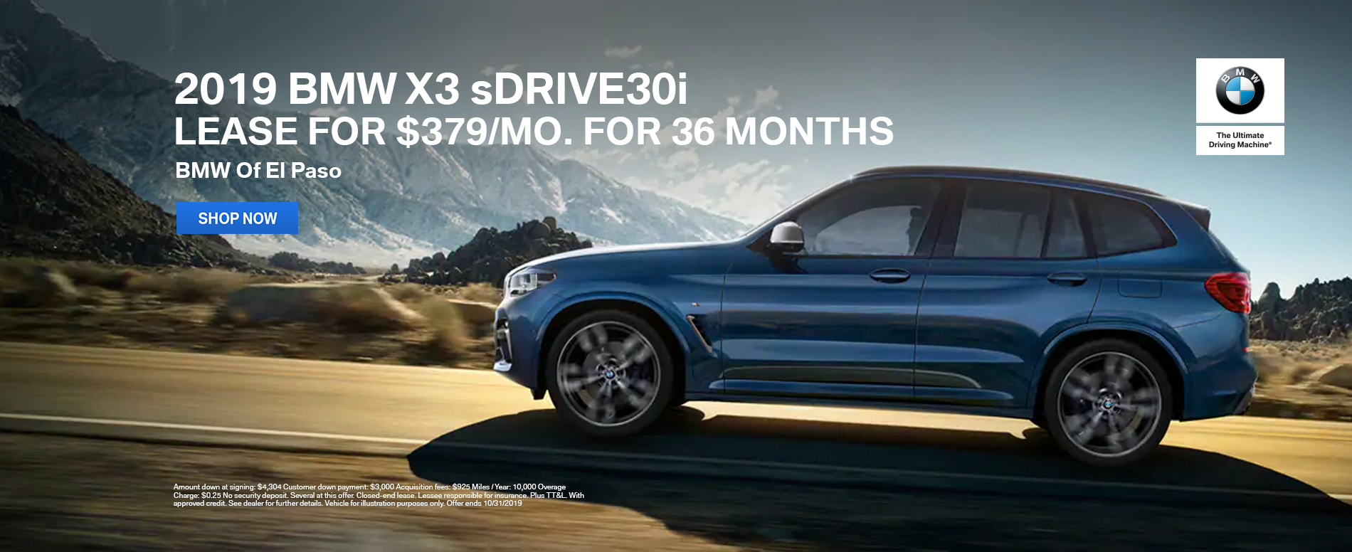 2019_BMW_El_Paso_X3_sDRIVE30i_Lease_Offer