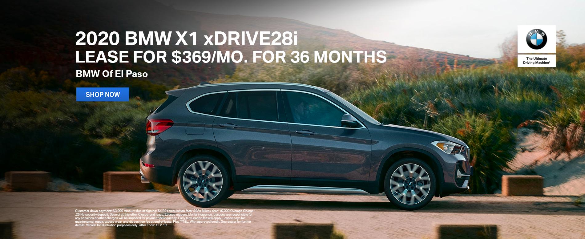 2020 BMW X1 xDrive28i Lease El Paso