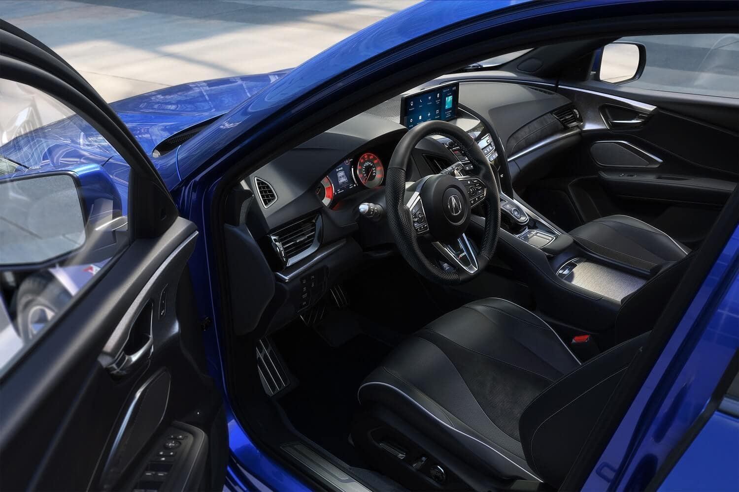 2021 Acura RDX SH-AWD A-Spec Apex Blue Pearl with Ebony Interior Driver's Side Door Open