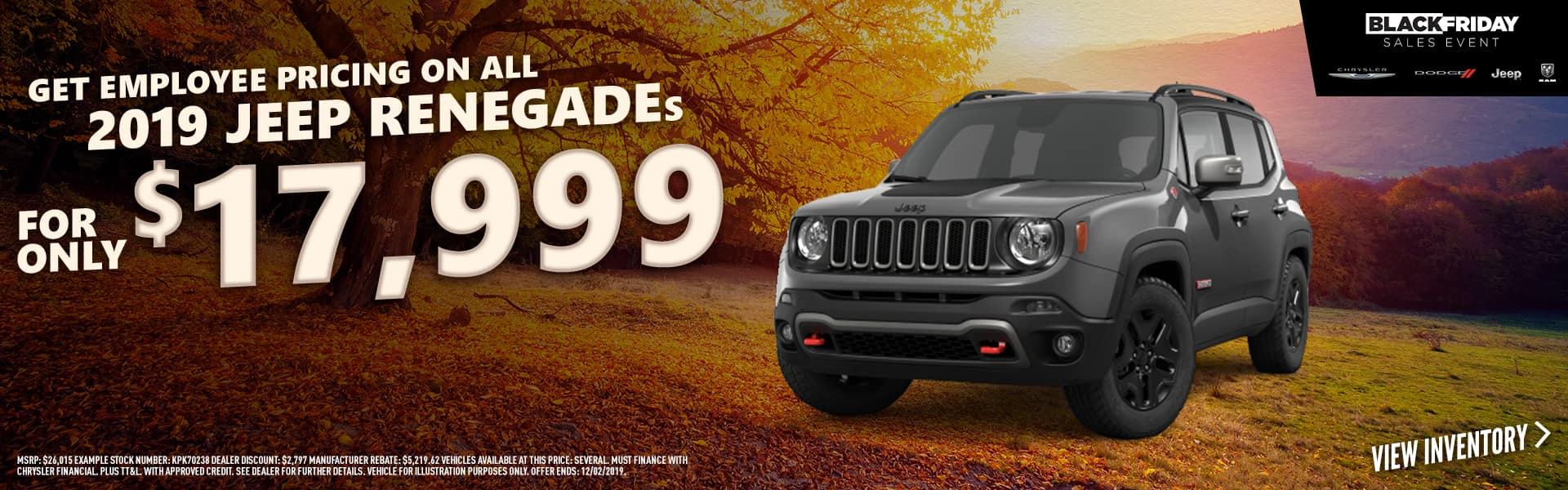 2019 Jeep Renegades - Remaining 2019 Jeep Renegades only $17,999 with employee pricing