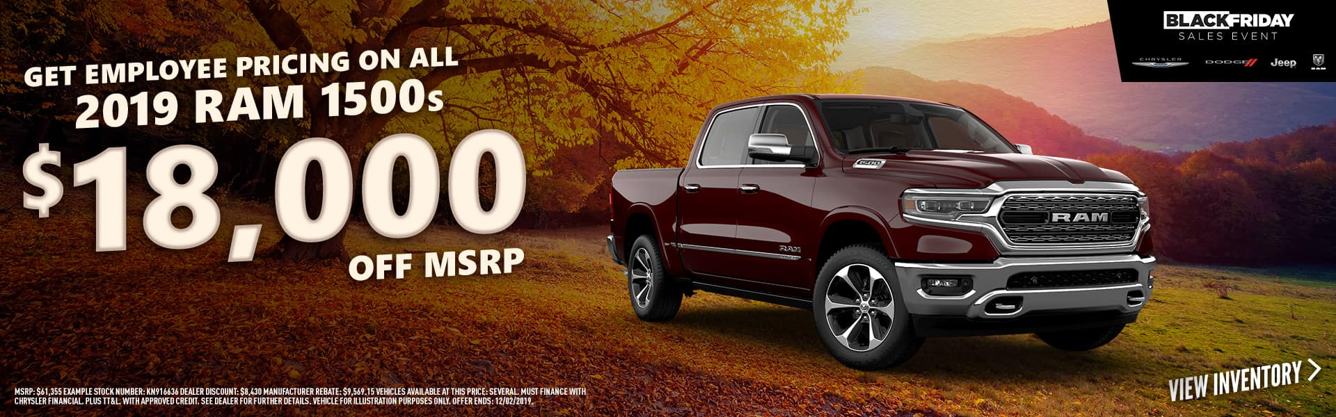2019 RAM 1500s - $18,000 off with Employee Pricing