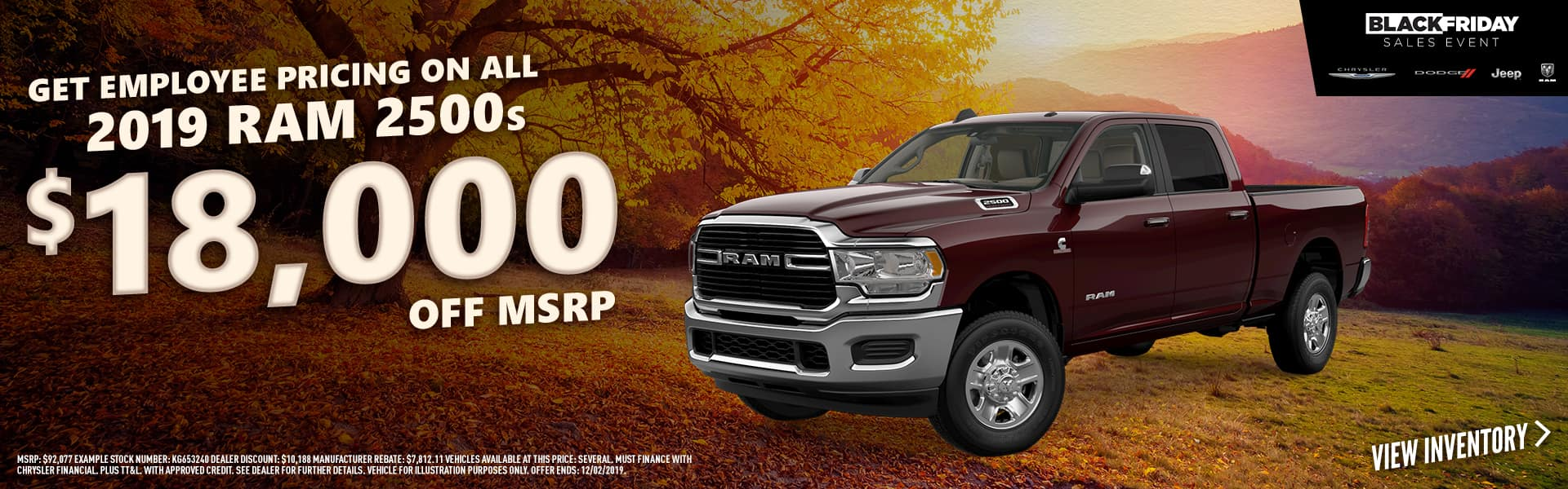 2019 RAM 2500s - $18,000 off with Employee Pricing on remaining 2019 RAM 2500s