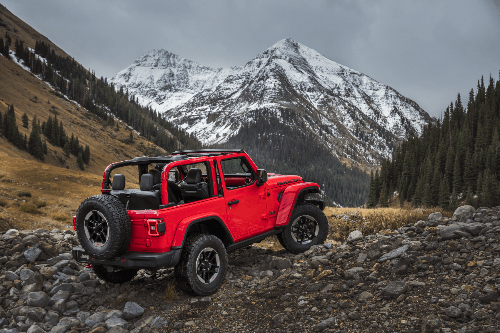 2021 Jeep Wrangler Red Off-Roading Mountains Dallas CDJR