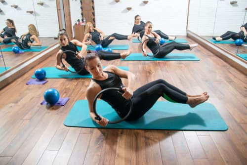 pilates class with rings