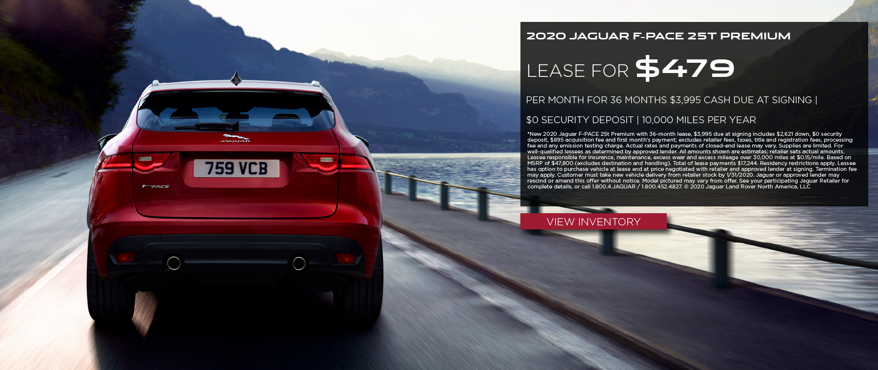 2020 JAGUAR F-PACE 25T PREMIUM LEASE FOR $479 PER MONTH FOR 36 MONTHS $3,995 CASH DUE AT SIGNING | $0 SECURITY DEPOSIT | 10,000 MILES PER YEAR | RED JAGUAR F-PACE DRIVING NEAR A RAILWAY AND LAKE