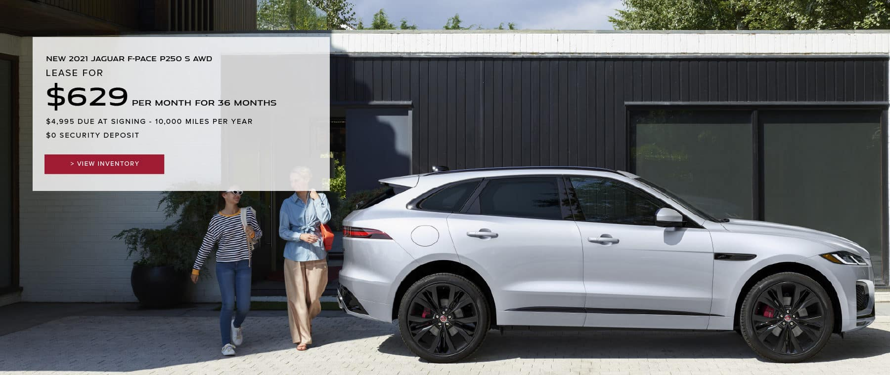 NEW 2021 JAGUAR E-PACE SE. $559 PER MONTH. 36 MONTH LEASE TERM. $3,495 CASH DUE AT SIGNING. $0 SECURITY DEPOSIT. 10,000 MILES PER YEAR. EXCLUDES RETAILER FEES, TAXES, TITLE AND REGISTRATION FEES, PROCESSING FEE AND ANY EMISSION TESTING CHARGE. OFFER ENDS 6/30/2021. VIEW INVENTORY. WHITE JAGUAR E-PACE DRIVING THROUGH CITY.