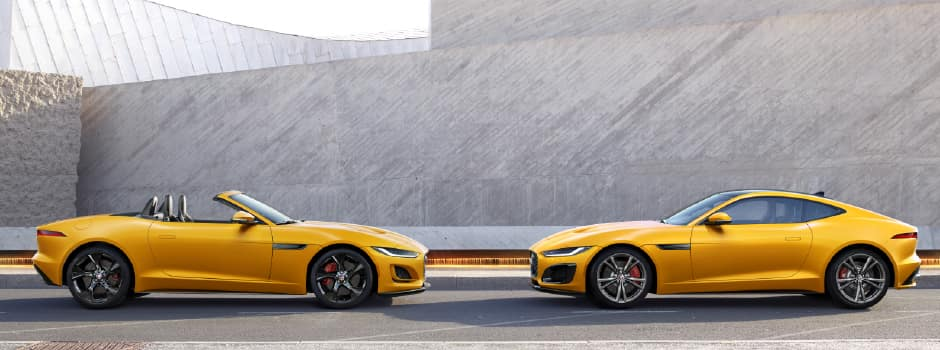 2021 JAGUAR F-TYPE COUPE AND CONVERTIBLE SIDE BY SIDE IIN YELLOW.