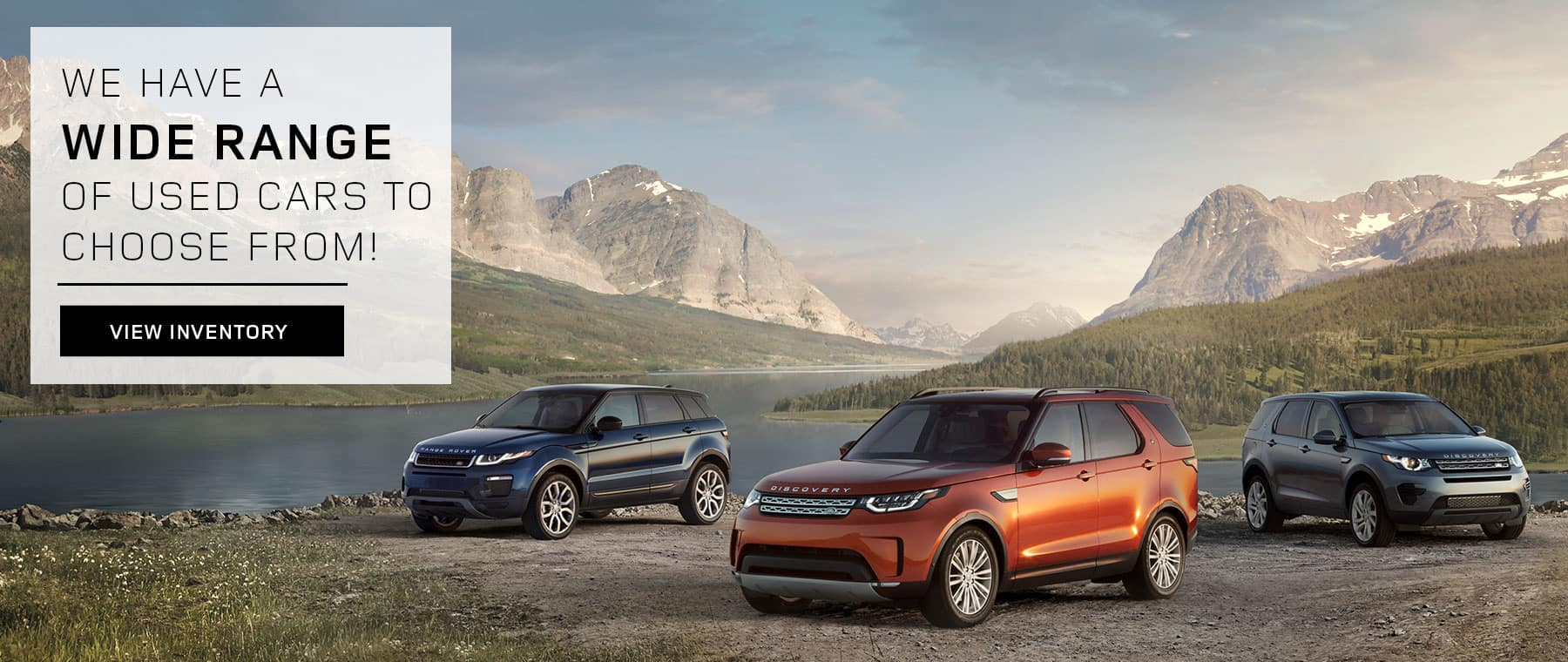 Three Land Rover vehicles parked on a trail. We have many used vehicles to choose from. Clicks to pre-owned inventory.