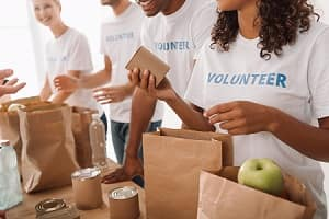 Packing Food for Those in Need