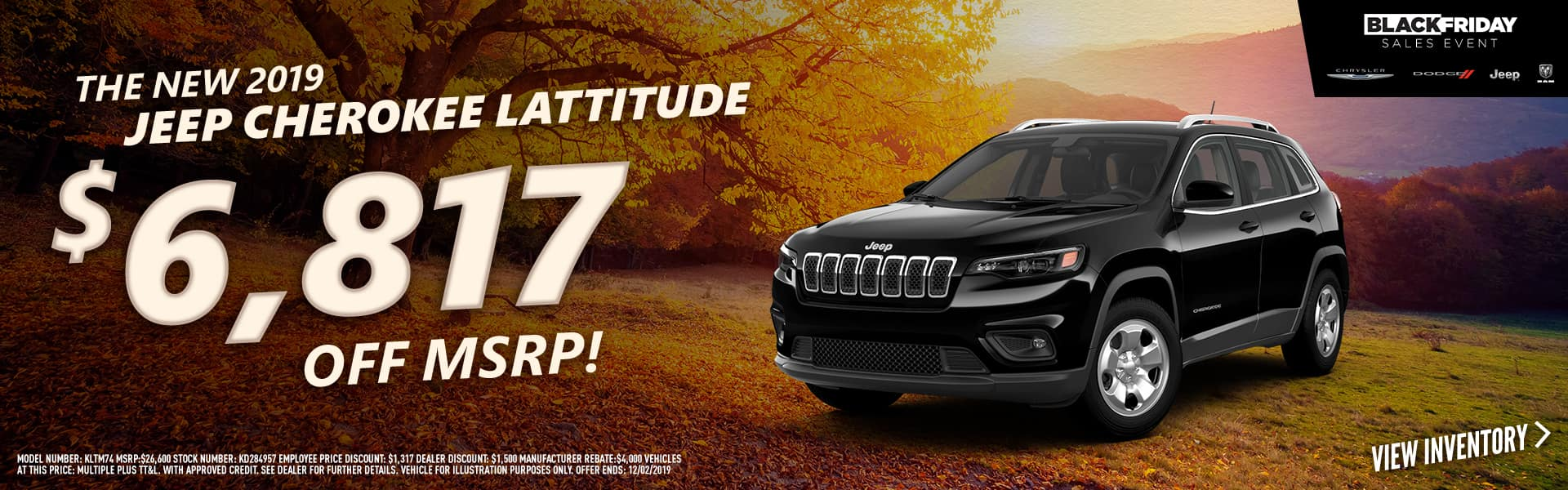 2019 Jeep Cherokee Lattitude $6,817 OFF MSRP