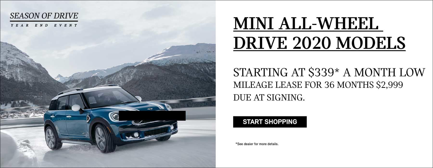 ISLAND BLUE MINI COOPER COUNTRYMAN ALL4 ON SNOW COVERED ROAD