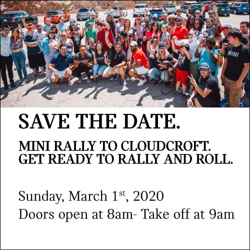 MINI RALLY TO CLOUDCROFT GET READY TO RALLY AND ROLL. SAVE THE DATE FOR SUNDAY, MARCH 1ST. DOORS OPEN AT 8AM