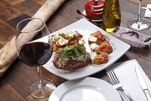 Italian Food on Plate With Wine