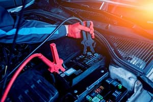 Car battery jump start positive and negative cables