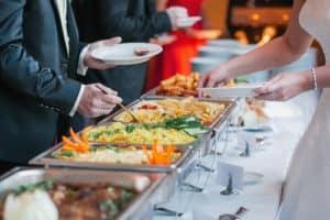 Caterer serving table