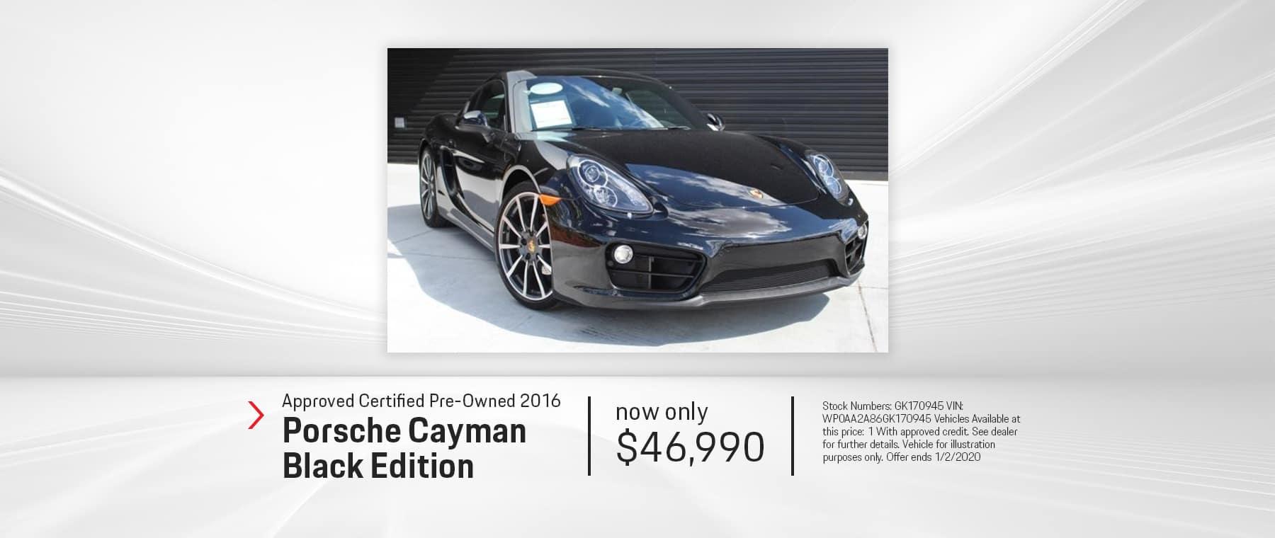2016 CAYMAN BLACK EDITION CPO $46,990