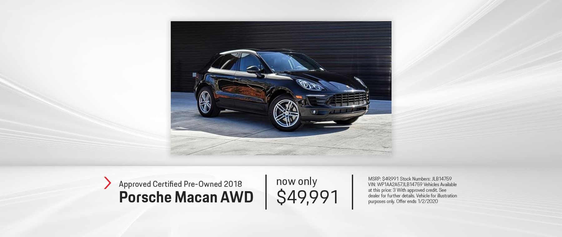2018 MACAN AWD CPO $49,991