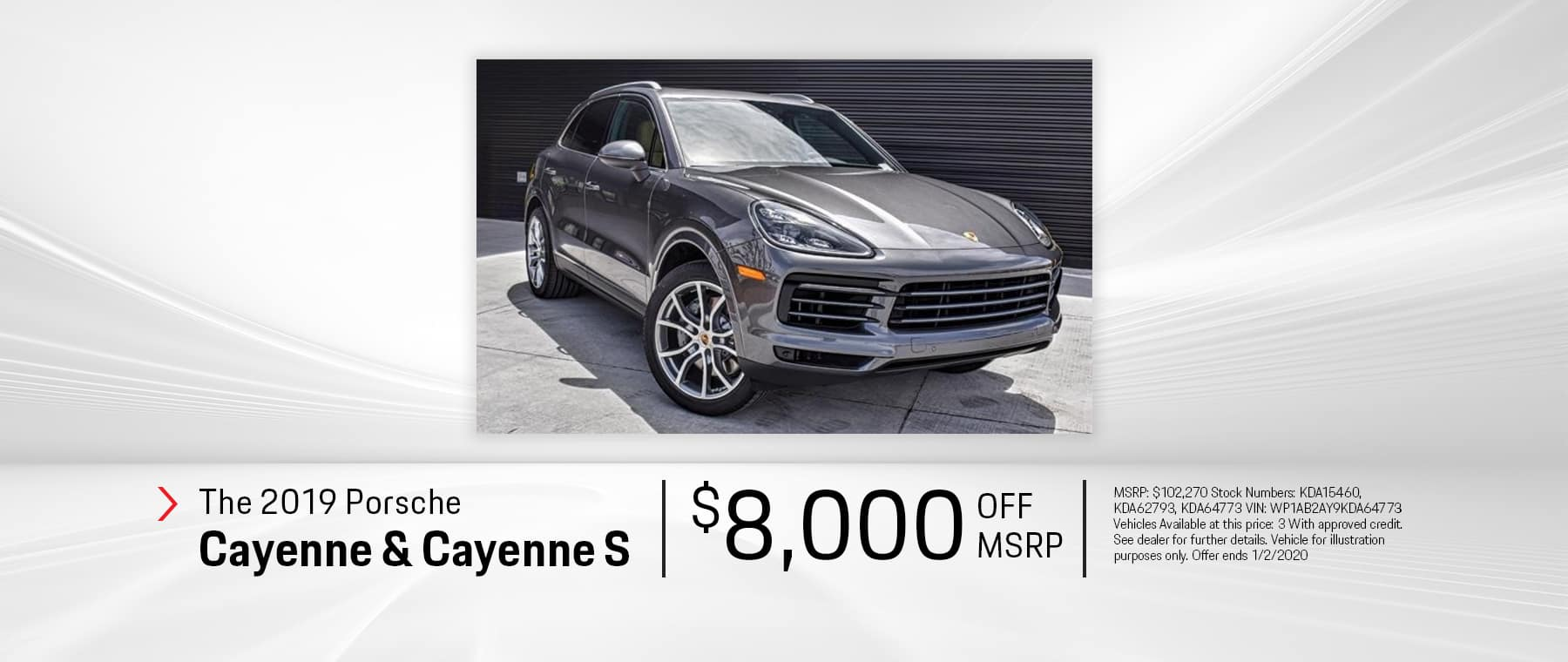 New 2019 Cayenne and Cayenne S $8K OFF