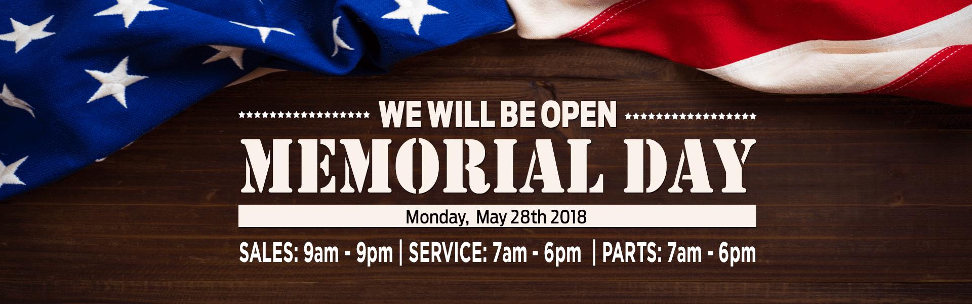 Memorial Day Hours