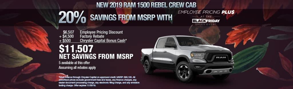 NEW 2019 RAM 1500 REBEL CREW CAB 4X2 5'7