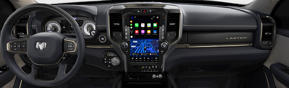 2019 RAM 1500 LIMITED CREW CAB interior in Indigo Frost