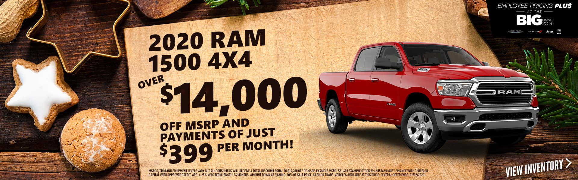 2020 RAM 1500 4x4 for over $14,000 off MSRP