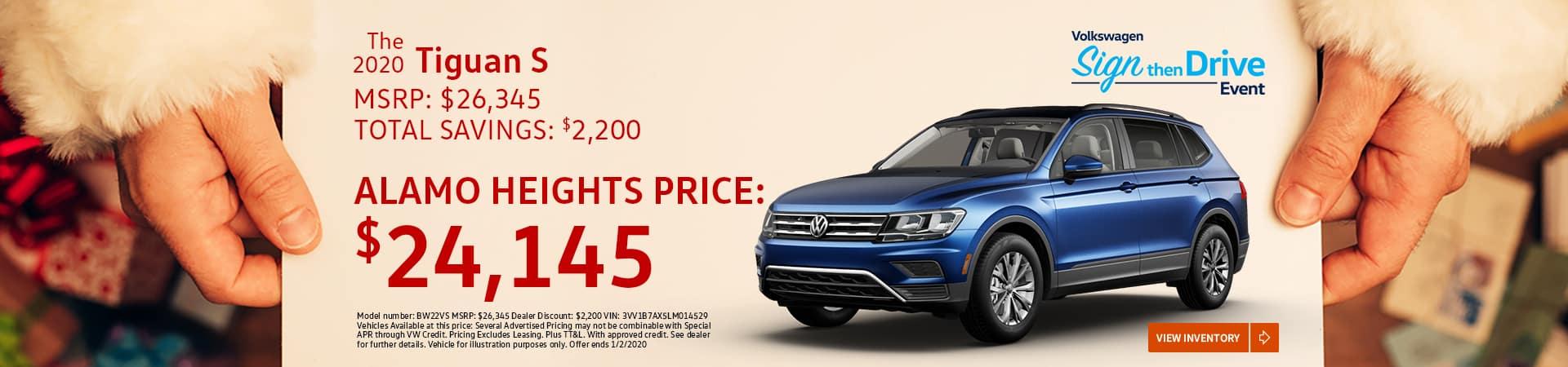 2020 Tiguan S - $24,145